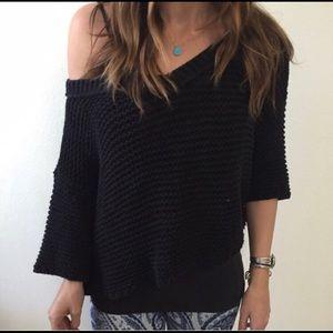 Black crop knit sweater